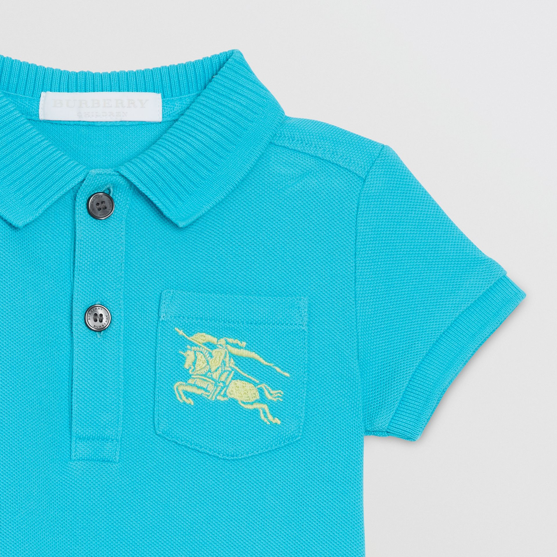 EKD Logo Cotton Piqué Polo Shirt in Bright Cyan Blue - Children | Burberry Australia - gallery image 4