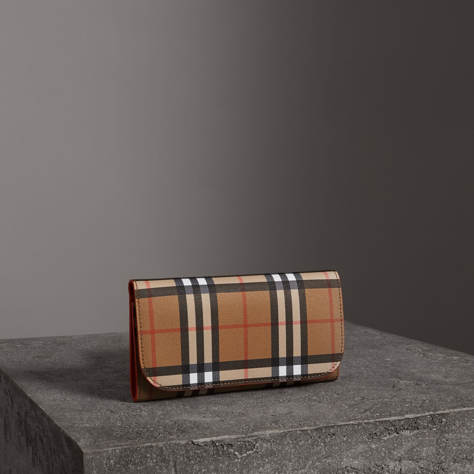 Vintage Check Continental Wallet and Pouch in Clementine - Women | Burberry United Kingdom - gallery image 0