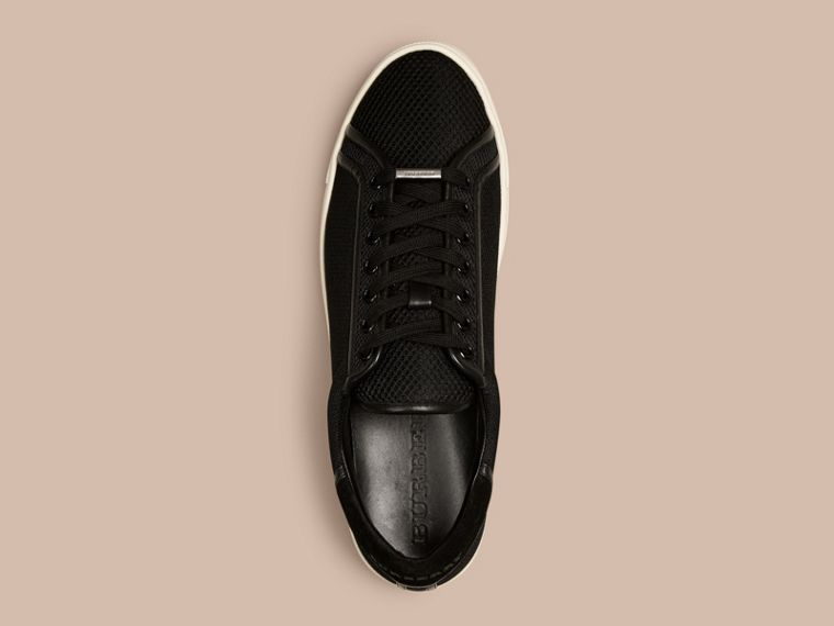 Black Mesh and Leather Trainers Black - cell image 1