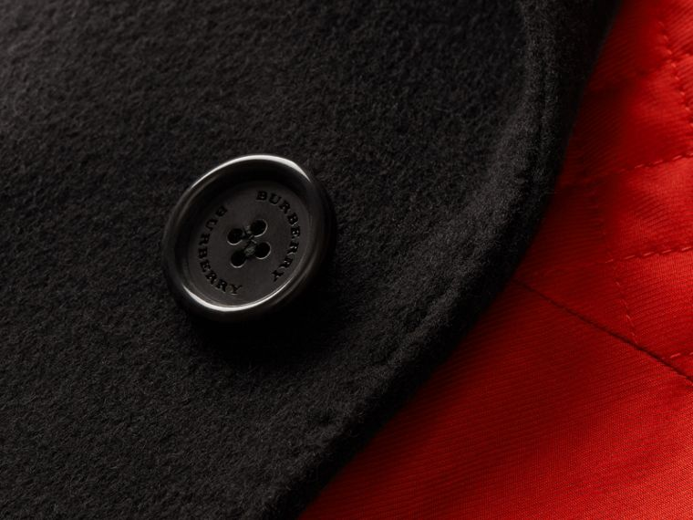 Black Rabbit Topcollar Wool Cashmere Coat - cell image 1