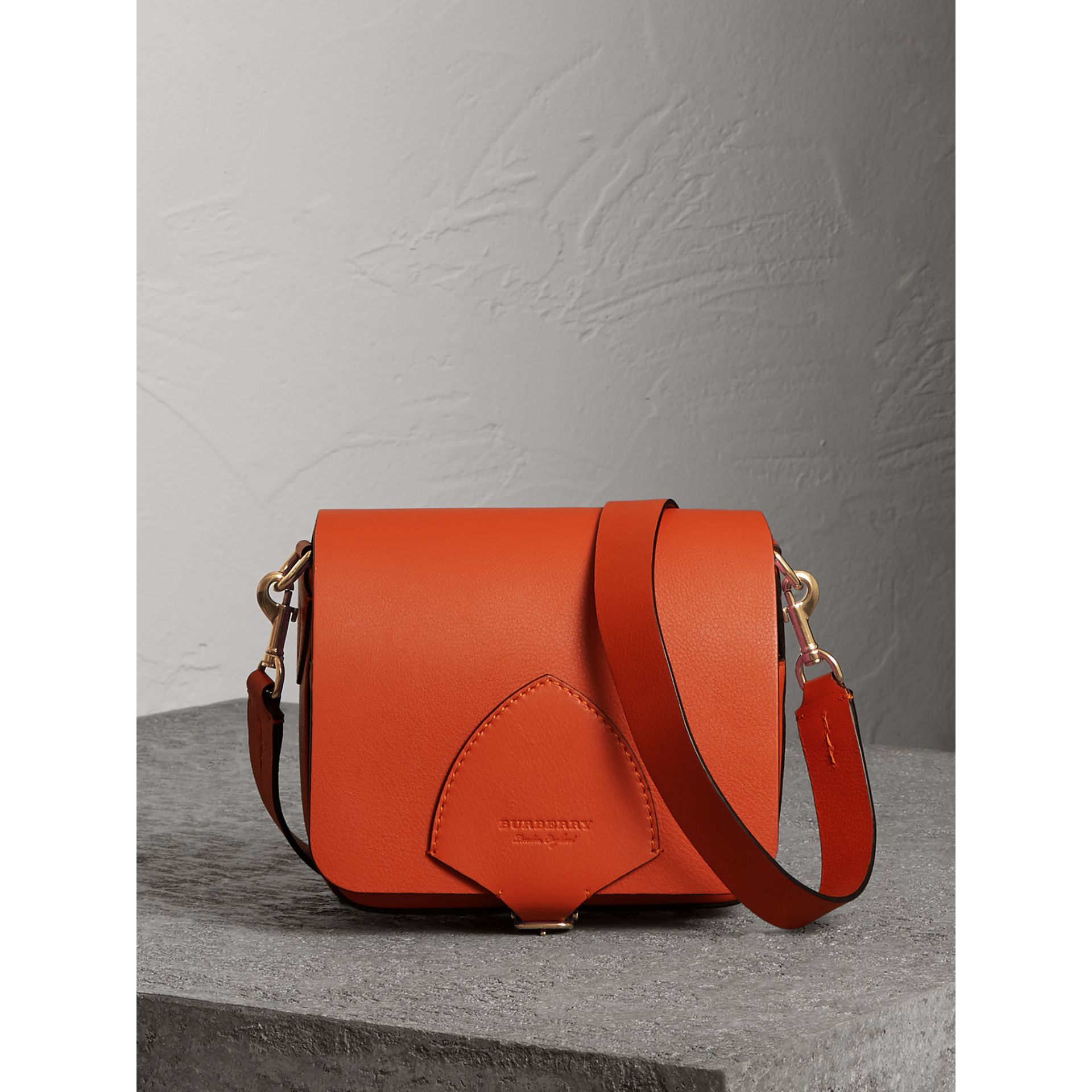 The Square Satchel in Leather in Clementine - Women | Burberry - gallery image 0