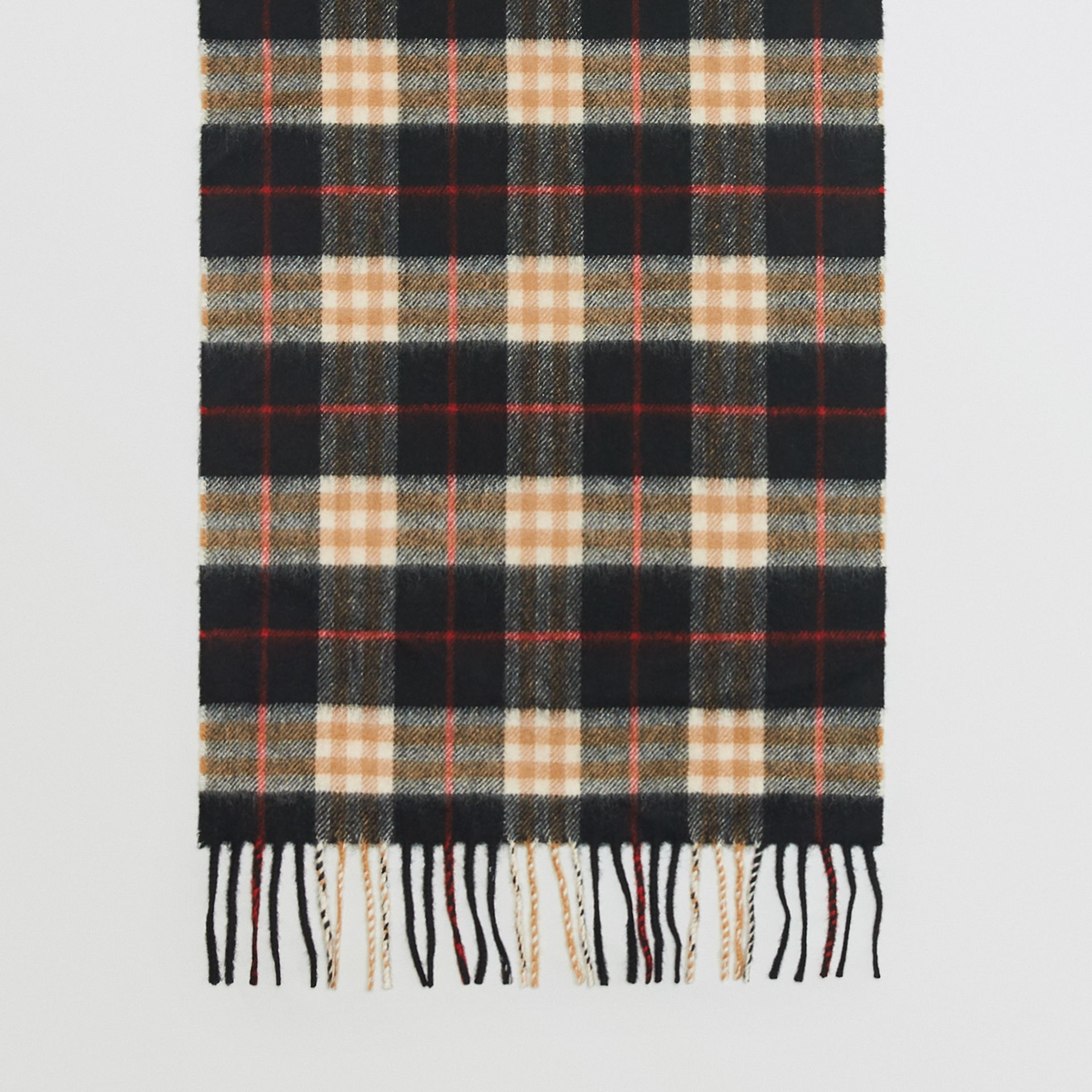 Check Cashmere Scarf in Black | Burberry United Kingdom - gallery image 6
