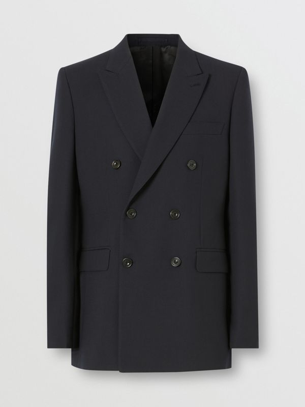 English Fit Double-faced Wool Crepe Tailored Jacket in Navy - Men | Burberry - cell image 3