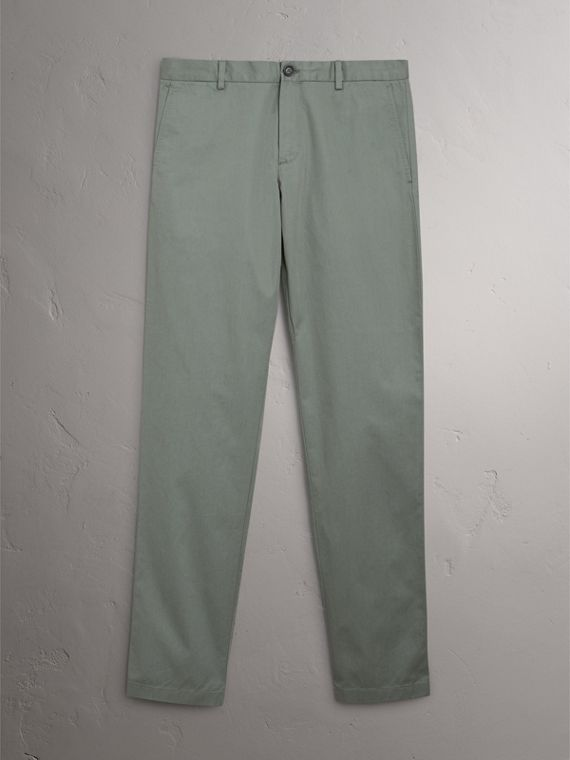 Slim Fit Cotton Chinos in Grey Blue