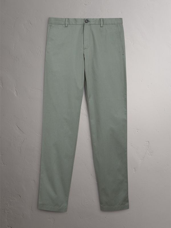 Slim Fit Cotton Chinos in Grey Blue - Men | Burberry - cell image 3