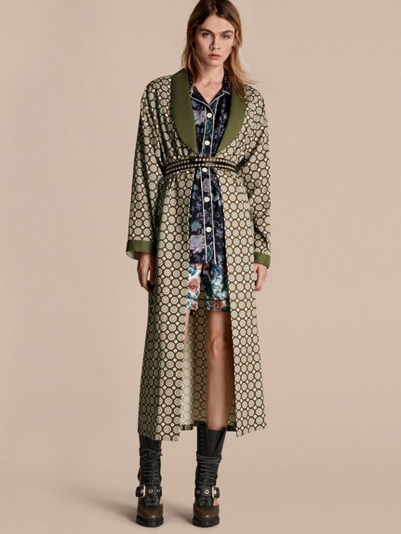 Geometric Print Silk Cotton Dressing Gown Coat