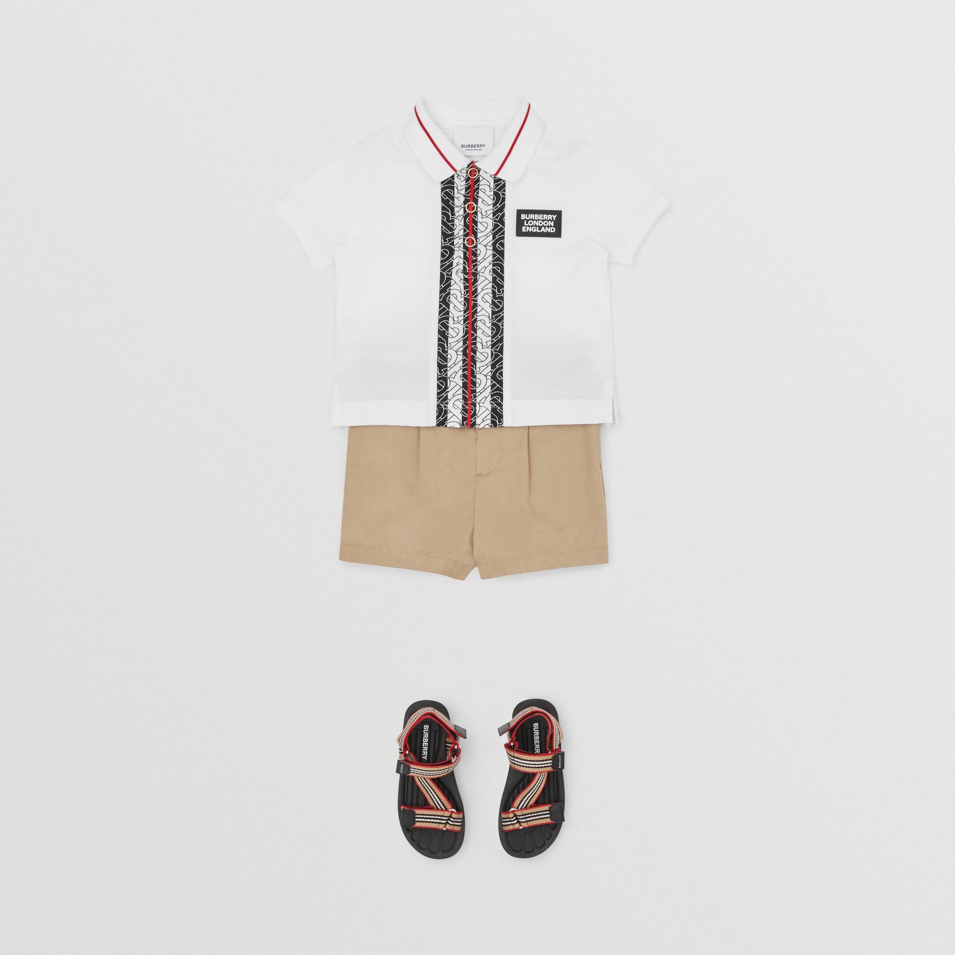 Monogram Stripe Cotton Piqué Polo Shirt in White - Children   Burberry - gallery image 2
