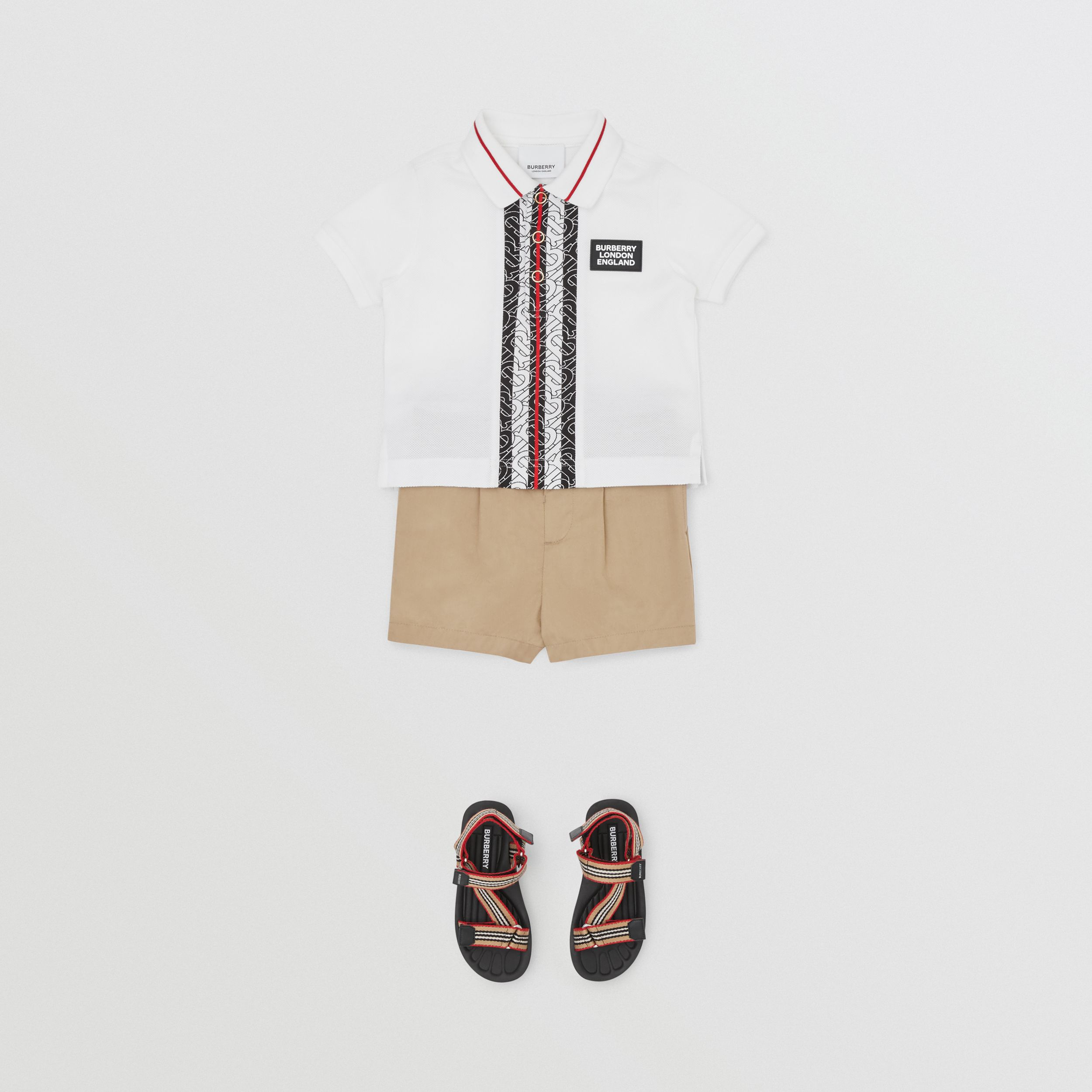 Monogram Stripe Cotton Piqué Polo Shirt in White - Children | Burberry - 3