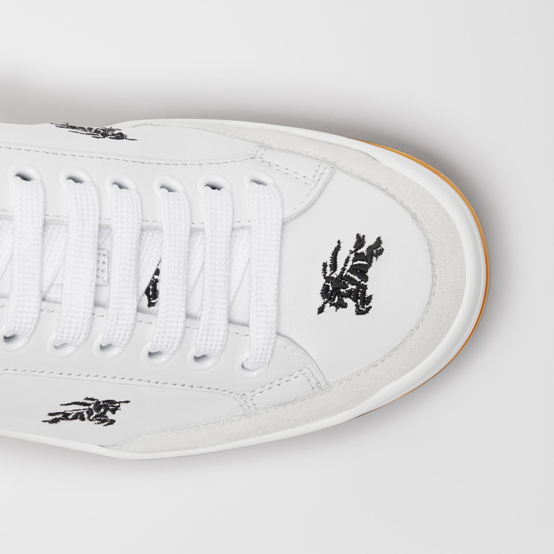 Equestrian Knight Embroidered Leather Sneakers in Optic White - Women | Burberry United Kingdom - gallery image 1