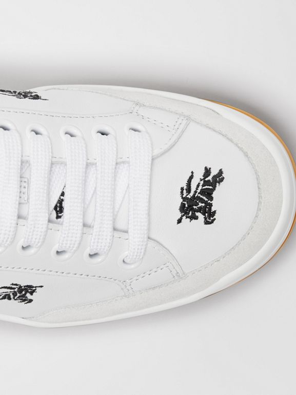 Equestrian Knight Embroidered Leather Sneakers in Optic White - Women | Burberry Singapore - cell image 1