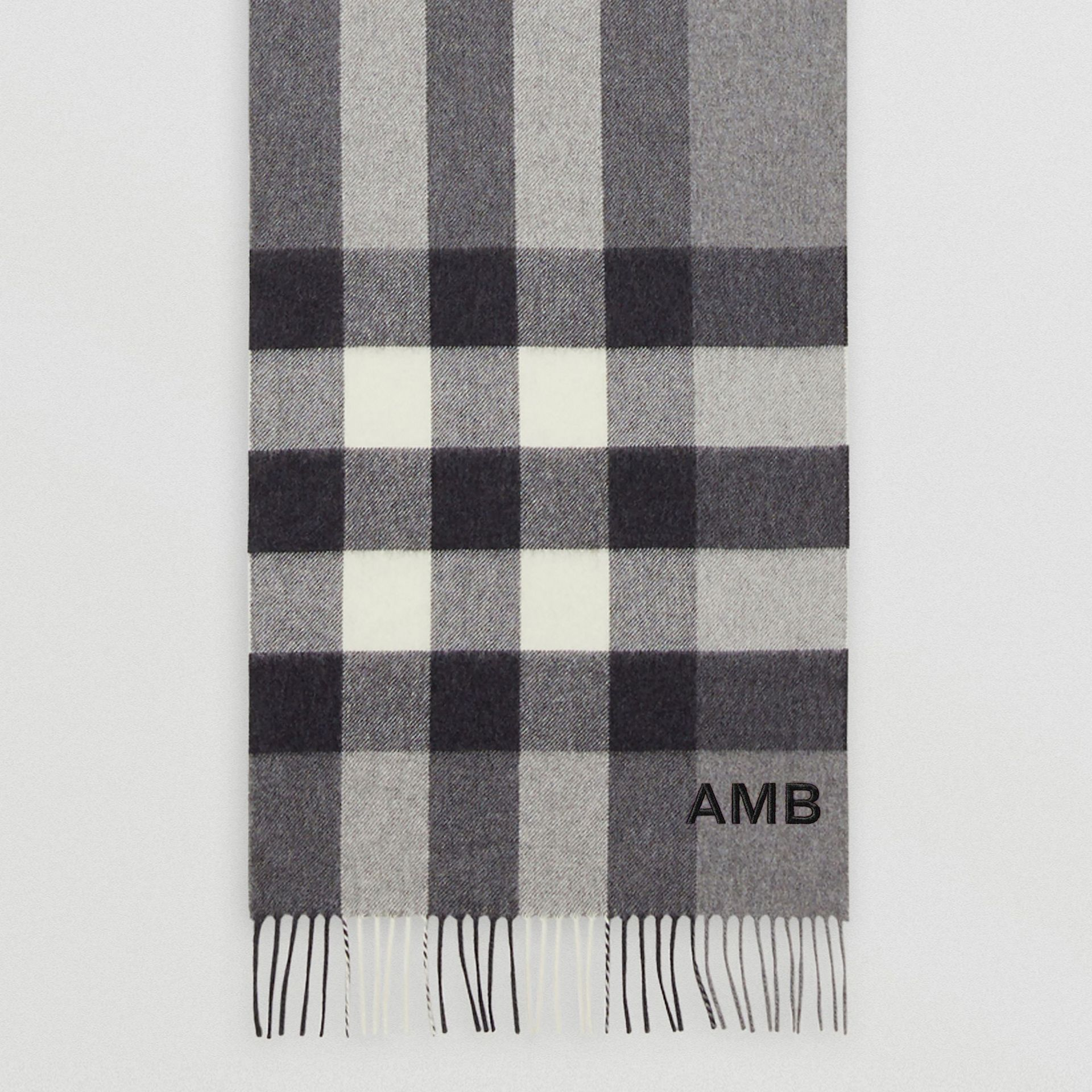 Check Cashmere Scarf in Grey | Burberry - gallery image 6
