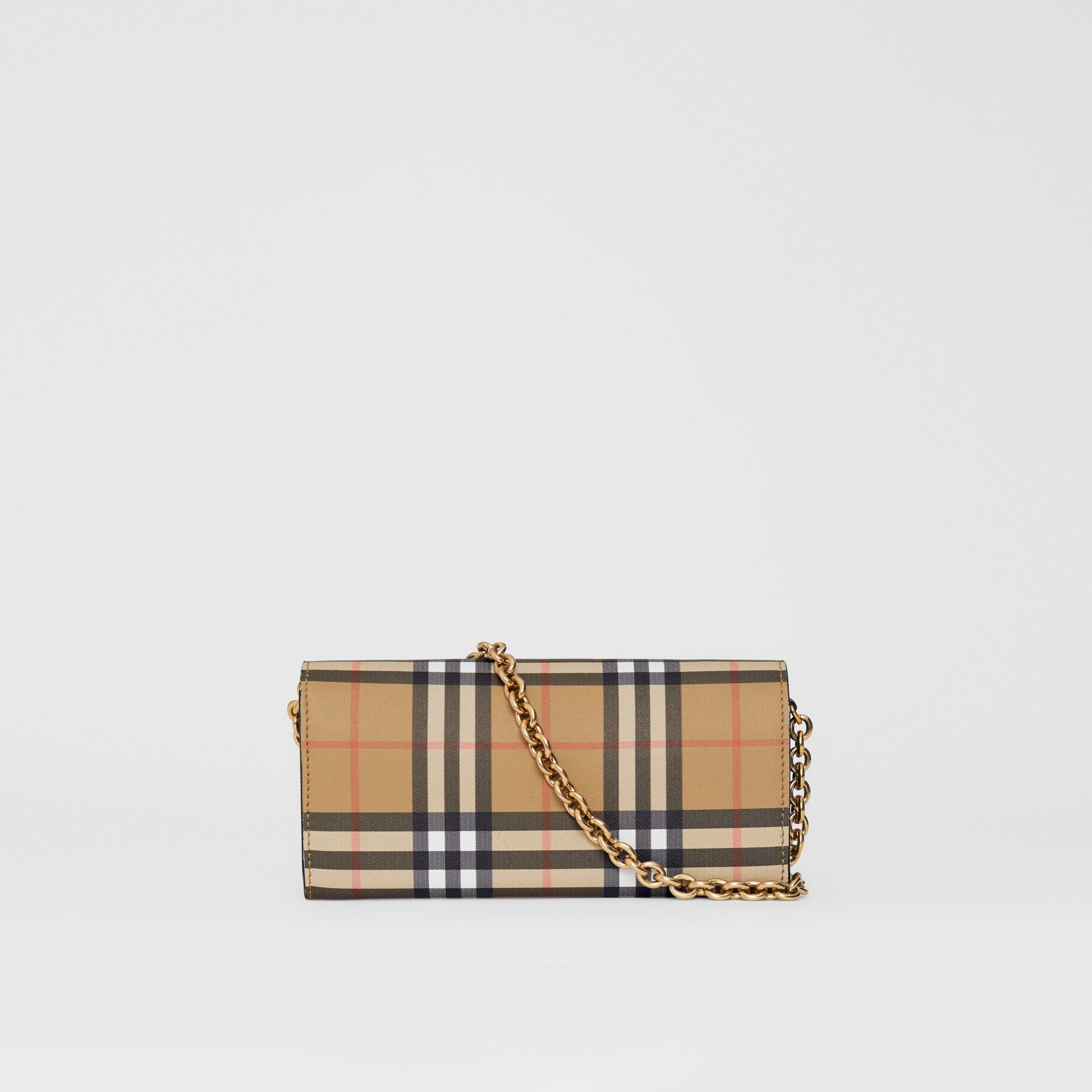 Vintage Check and Leather Wallet with Chain in Black - Women | Burberry Australia - gallery image 7