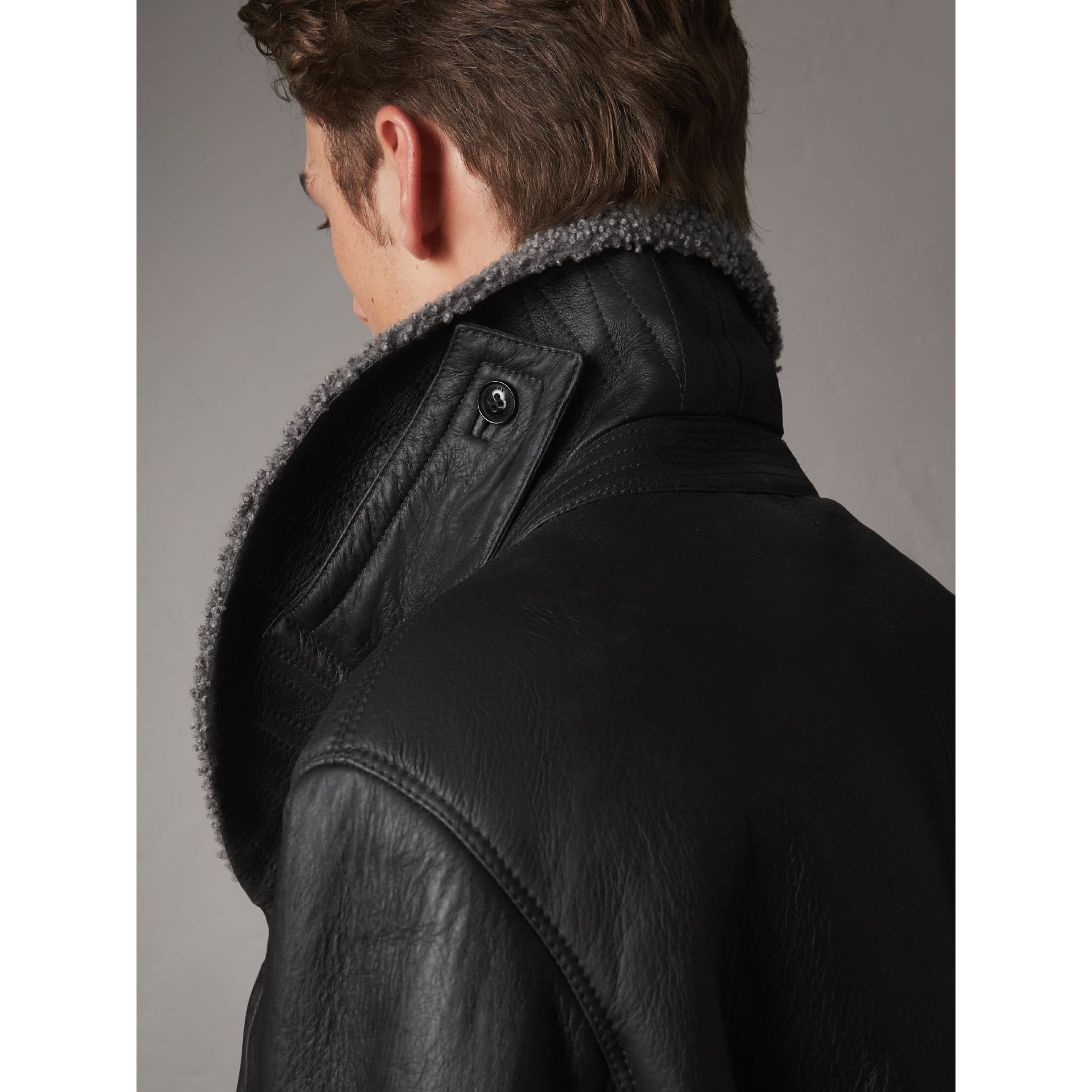 Shearling Pea Coat in Black - Men | Burberry - gallery image 2