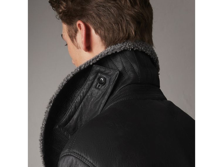 Shearling Pea Coat in Black - Men | Burberry - cell image 1