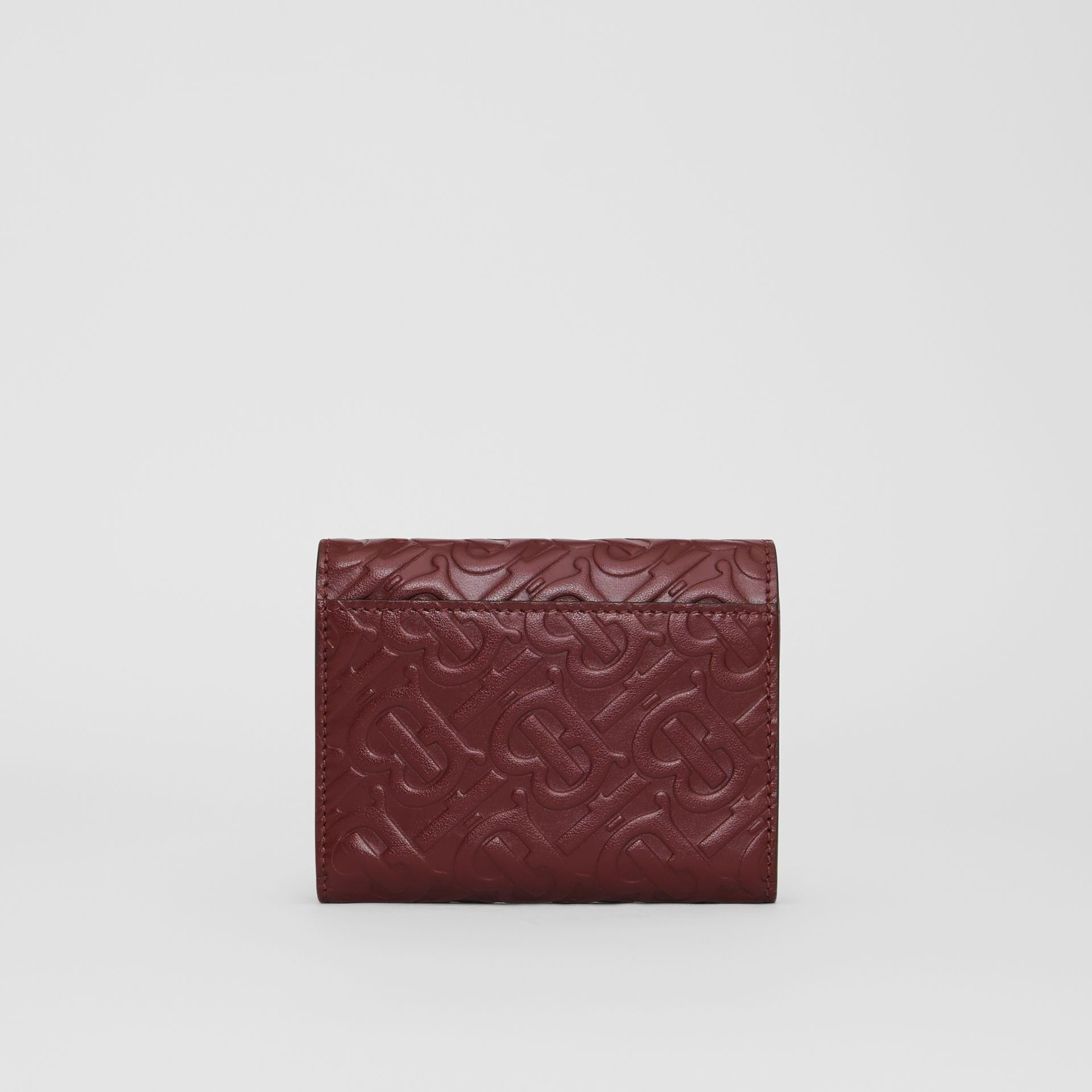 Small Monogram Leather Folding Wallet in Oxblood - Women | Burberry - gallery image 4
