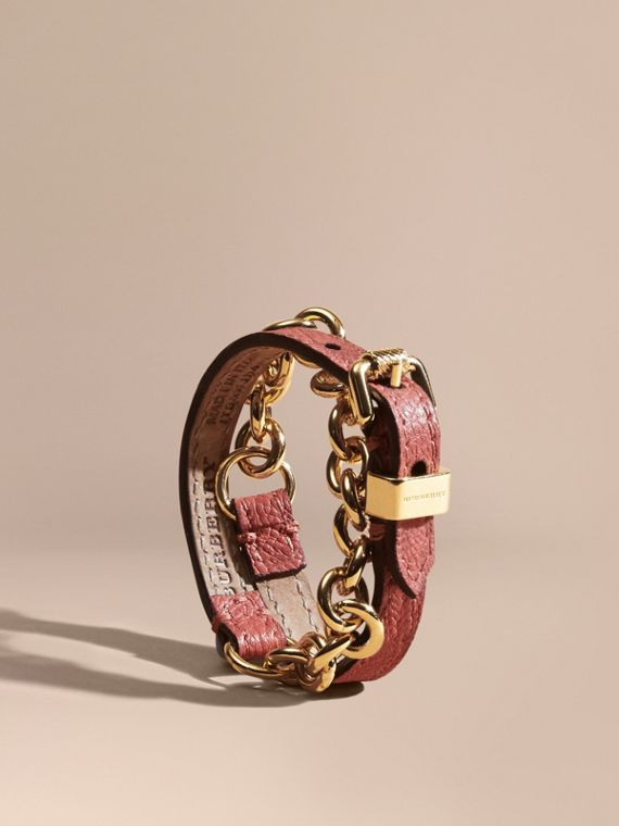 Double-wrap Grainy Leather and Chain Bracelet