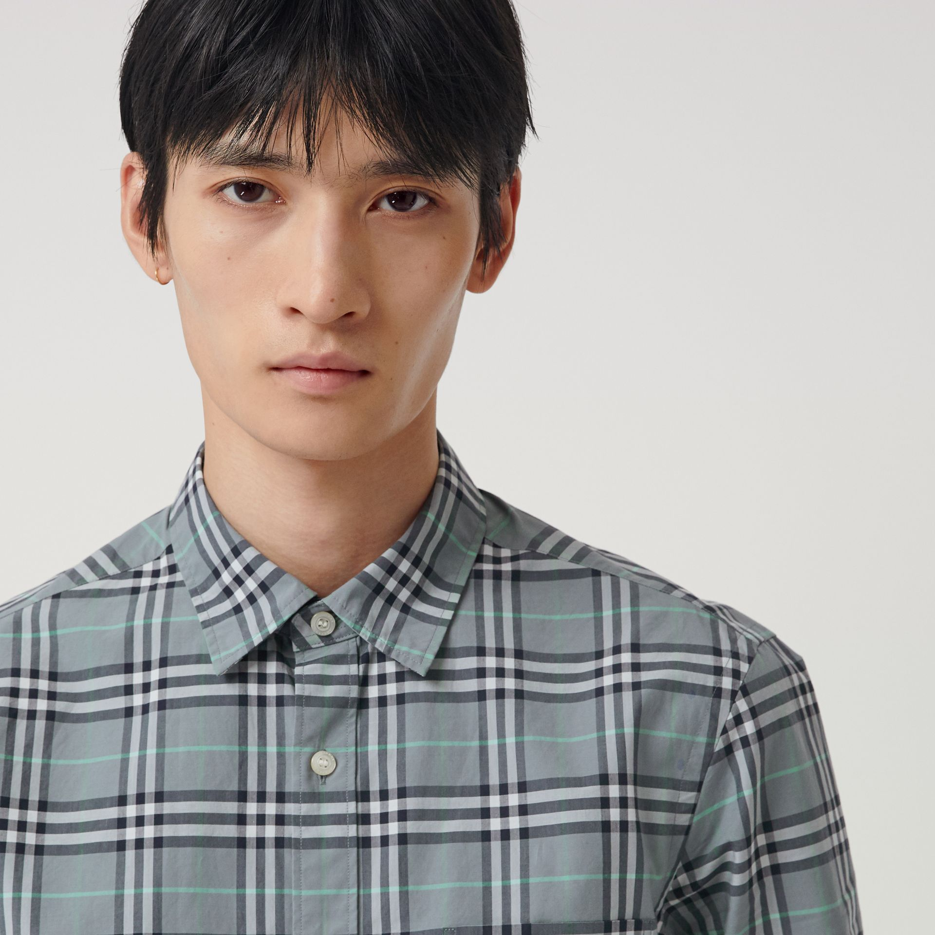 Check Cotton Shirt in Stone Blue - Men | Burberry Hong Kong - gallery image 1