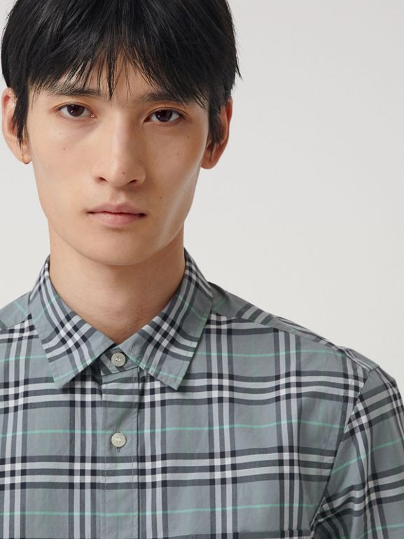 Check Cotton Shirt in Stone Blue - Men | Burberry Hong Kong - cell image 1