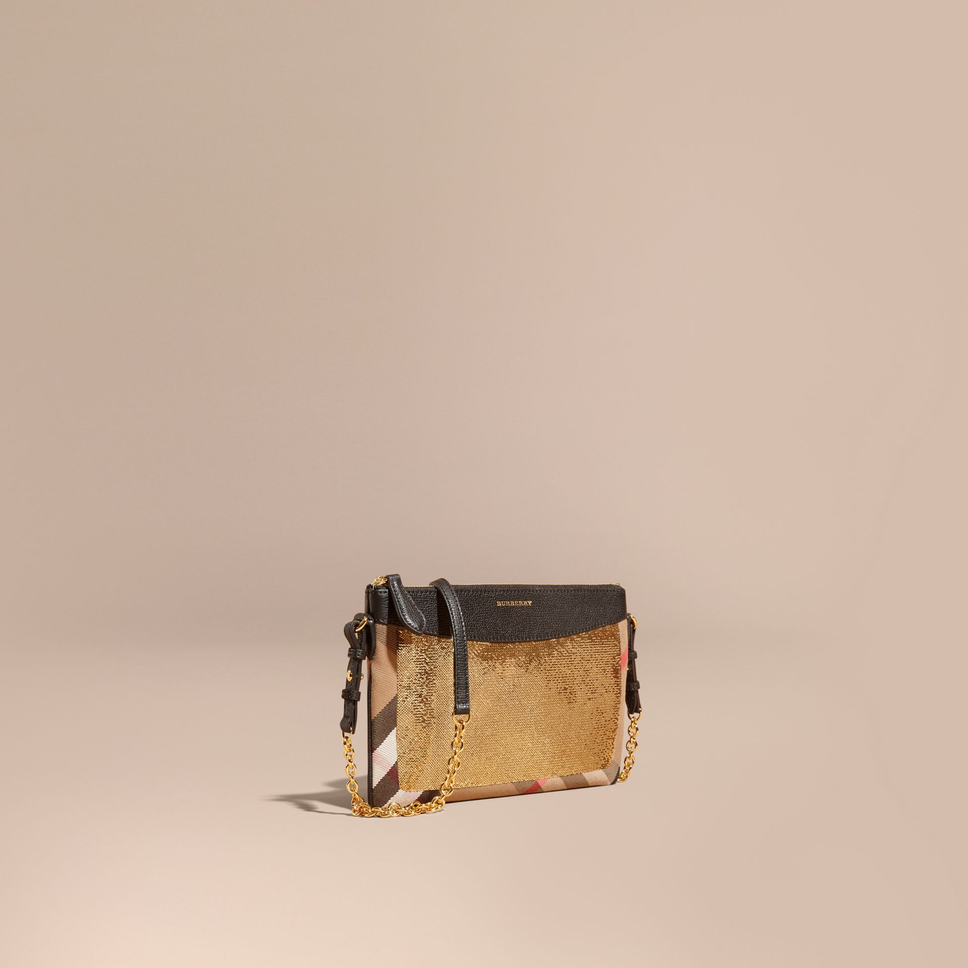 Leather, Sequin and Check Clutch Bag in Gold/black - gallery image 1