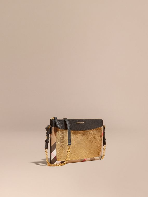 Leather, Sequin and Check Clutch Bag Gold/black