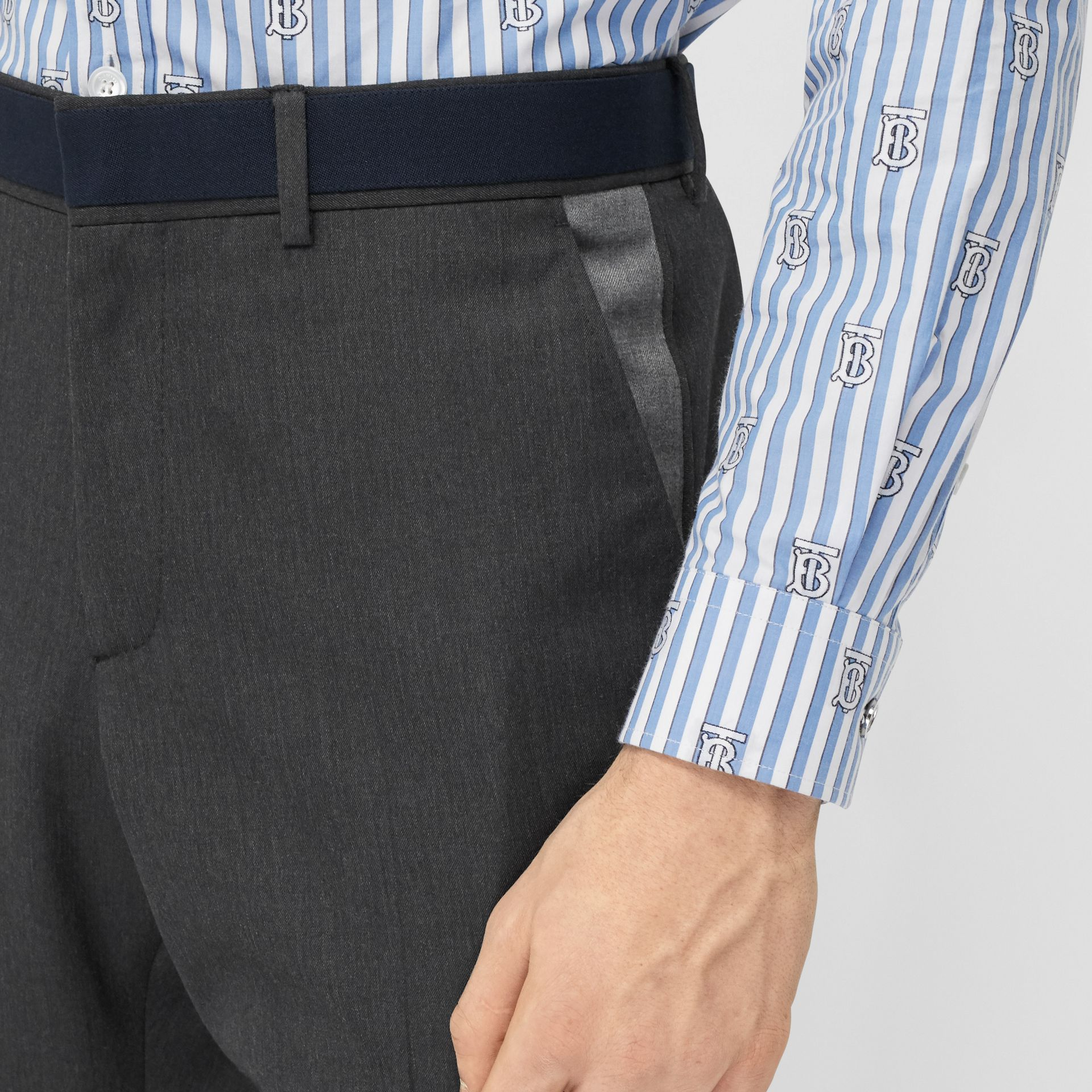 Classic Fit Panelled Wool Tailored Trousers in Charcoal - Men   Burberry United Kingdom - gallery image 1