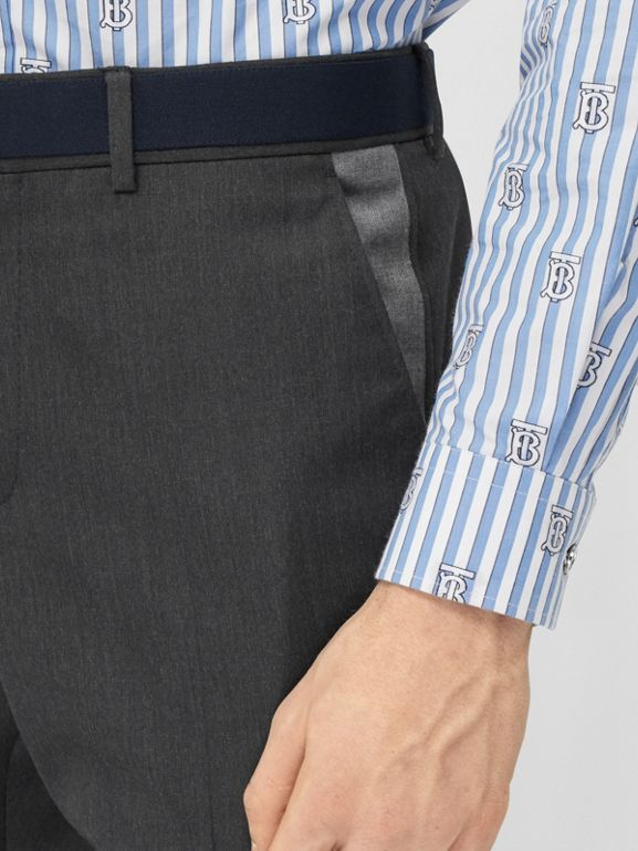 Classic Fit Panelled Wool Tailored Trousers in Charcoal - Men   Burberry United Kingdom - cell image 1