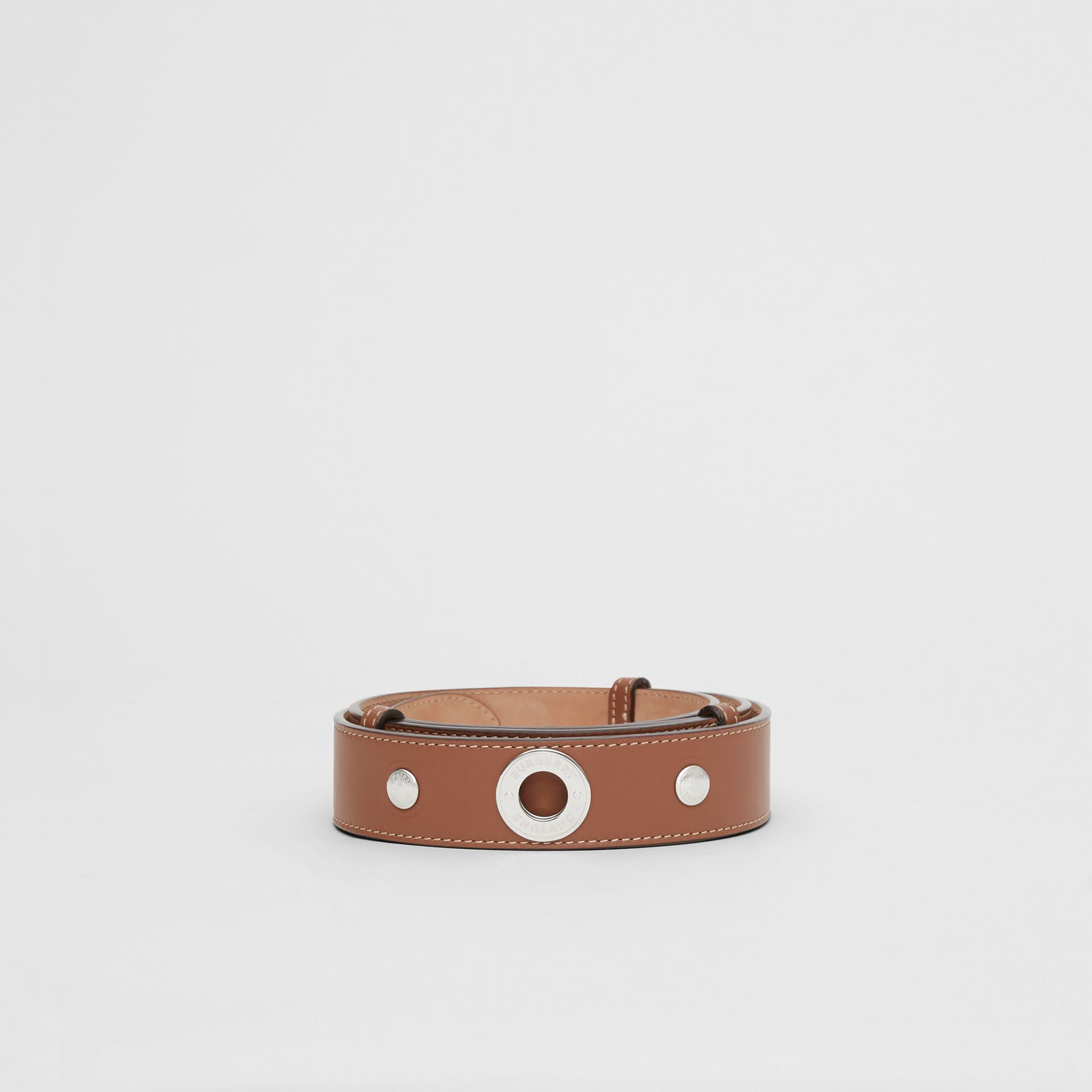 Triple Stud Leather Belt in Malt Brown - Women | Burberry Singapore - gallery image 3