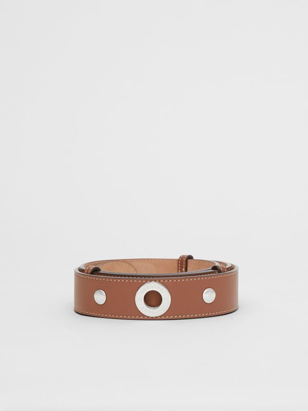 Triple Stud Leather Belt in Malt Brown - Women | Burberry Singapore - cell image 3