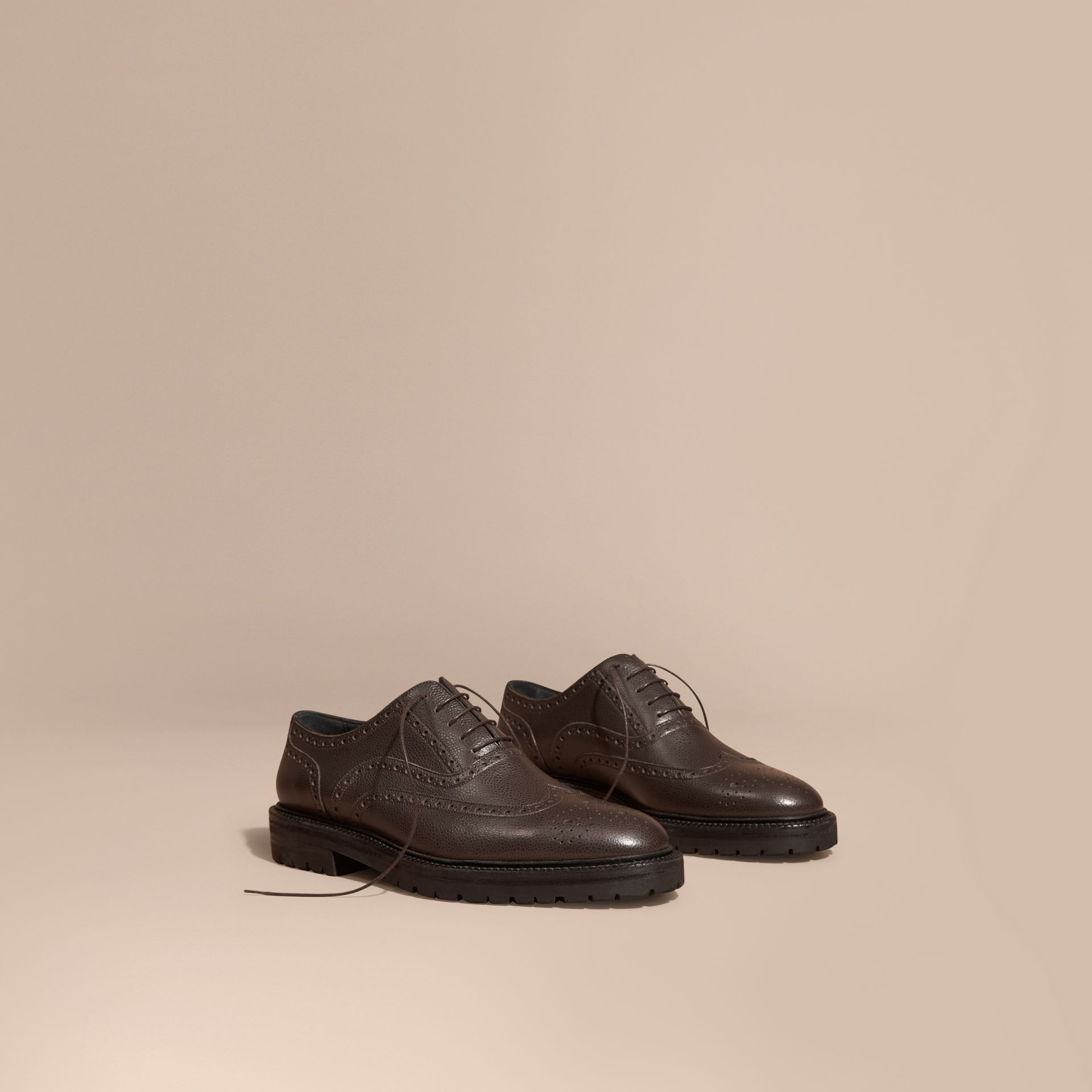 Bitter chocolate Grainy Leather Wingtip Brogue with Rubber Sole Bitter Chocolate - gallery image 1