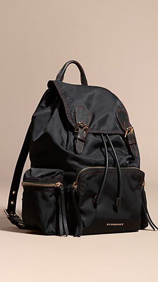 The Large Rucksack in Topstitched Nylon and Leather