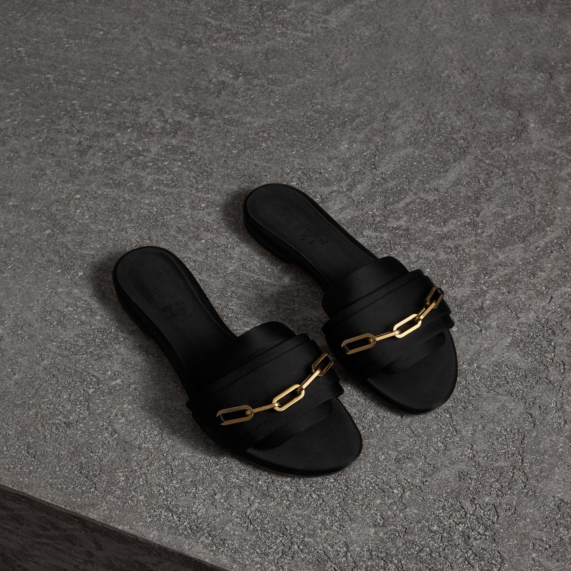 Link Detail Satin and Leather Slides in Black - Women | Burberry Singapore - gallery image 0