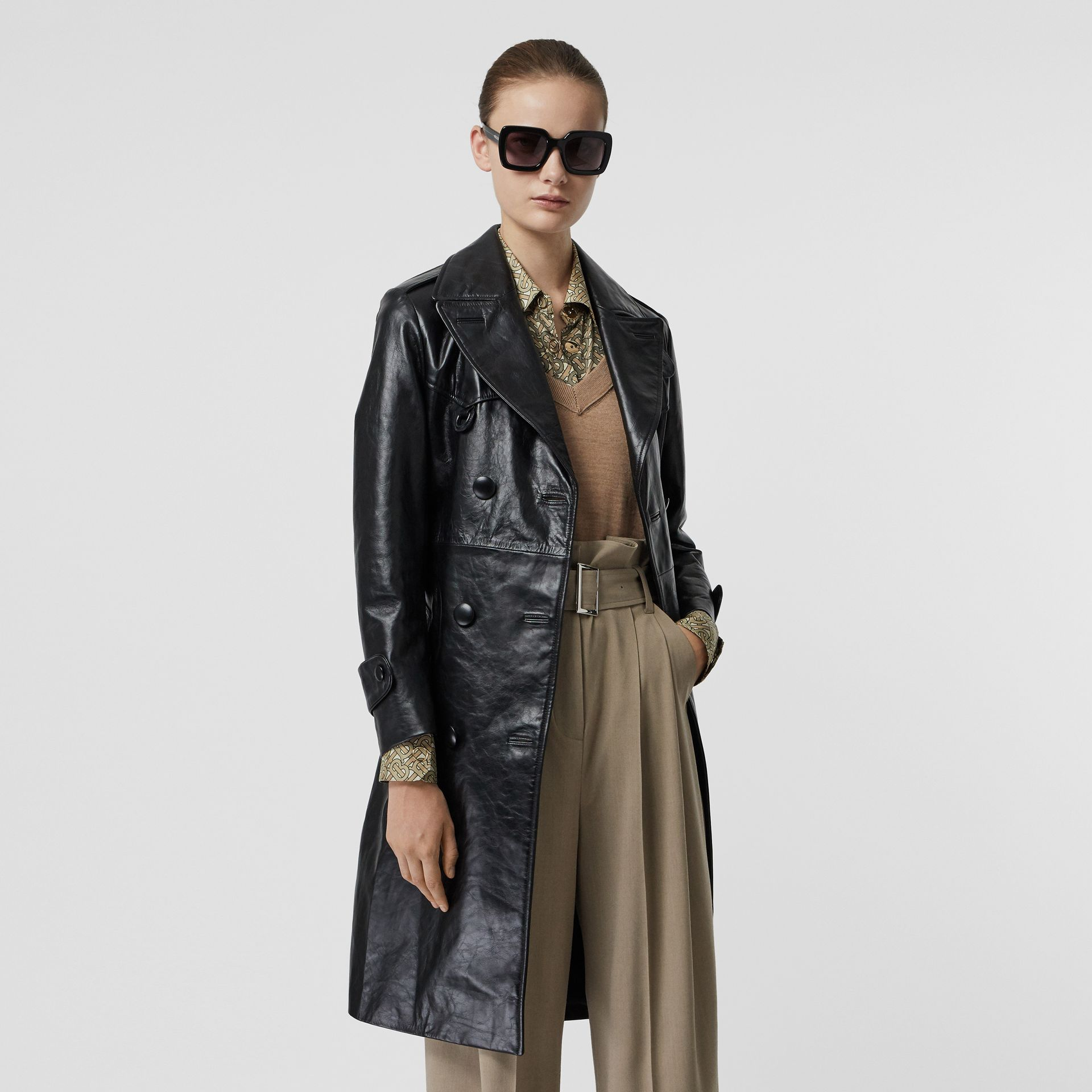 D-ring Detail Crinkled Leather Trench Coat in Black - Women | Burberry Australia - gallery image 4