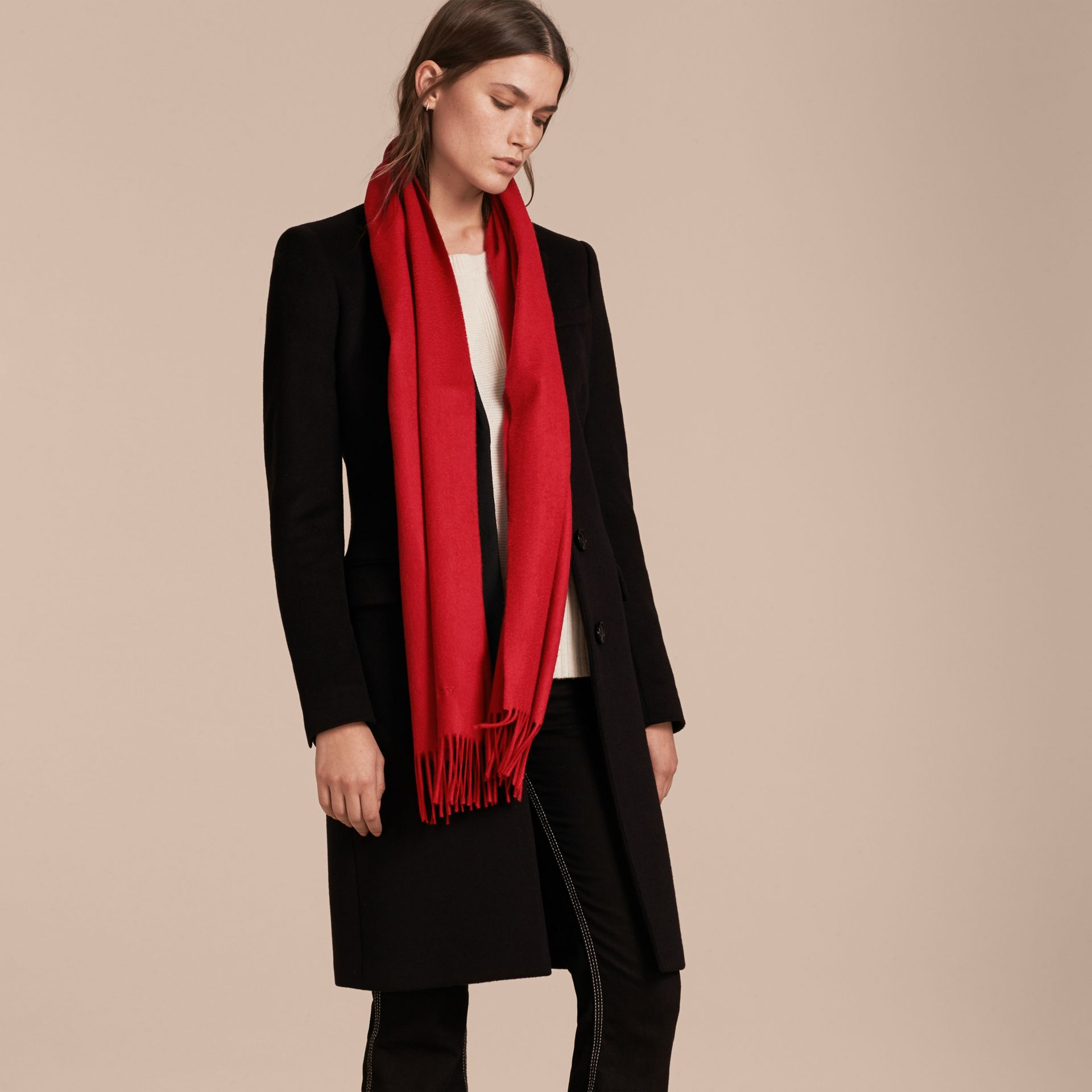 The Classic Cashmere Scarf in Parade Red - gallery image 3