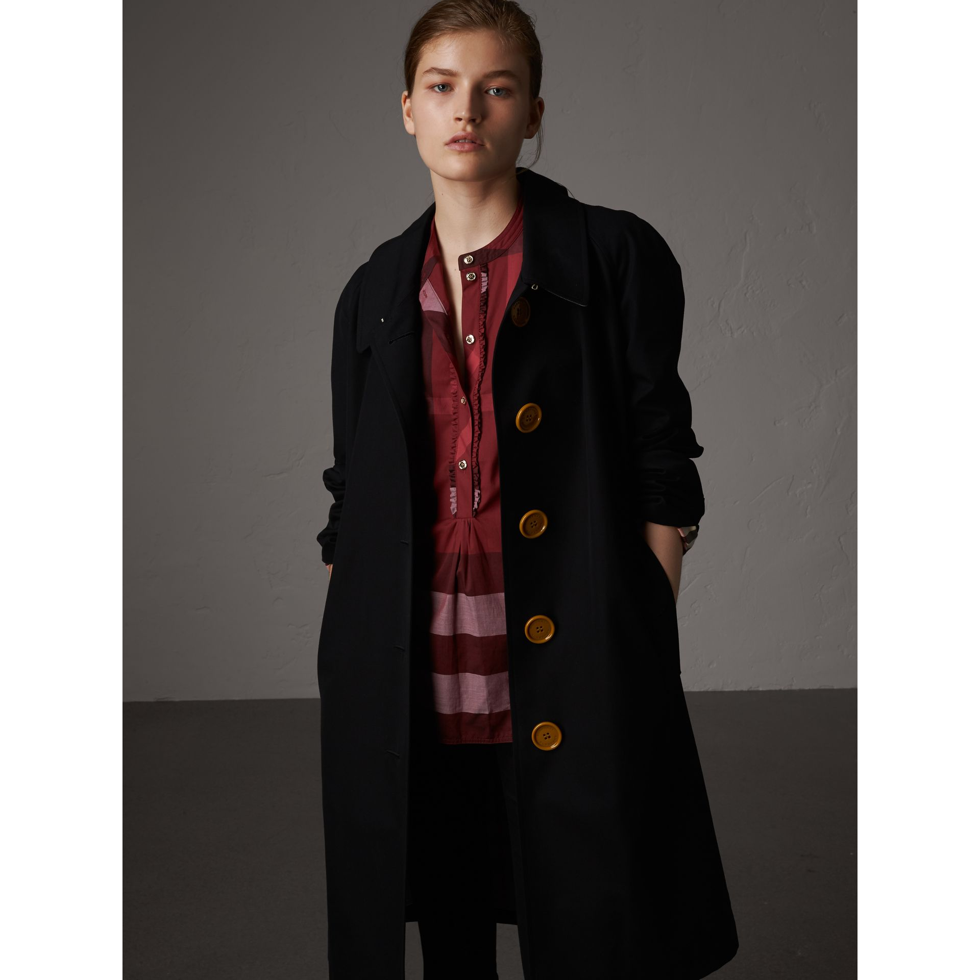 Check Grandad Collar Shirt in Carmine Red - Women | Burberry - gallery image 5