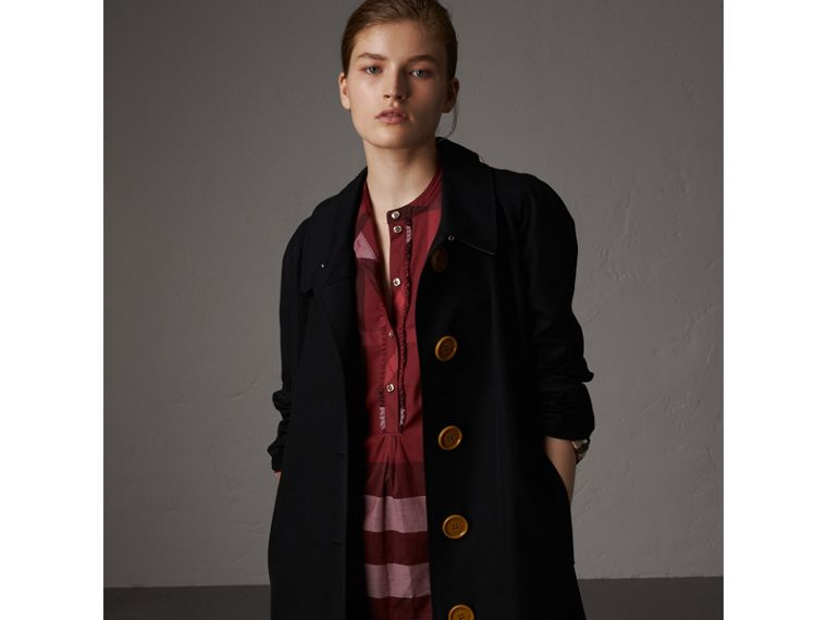 Check Grandad Collar Shirt in Carmine Red - Women | Burberry Canada - cell image 4
