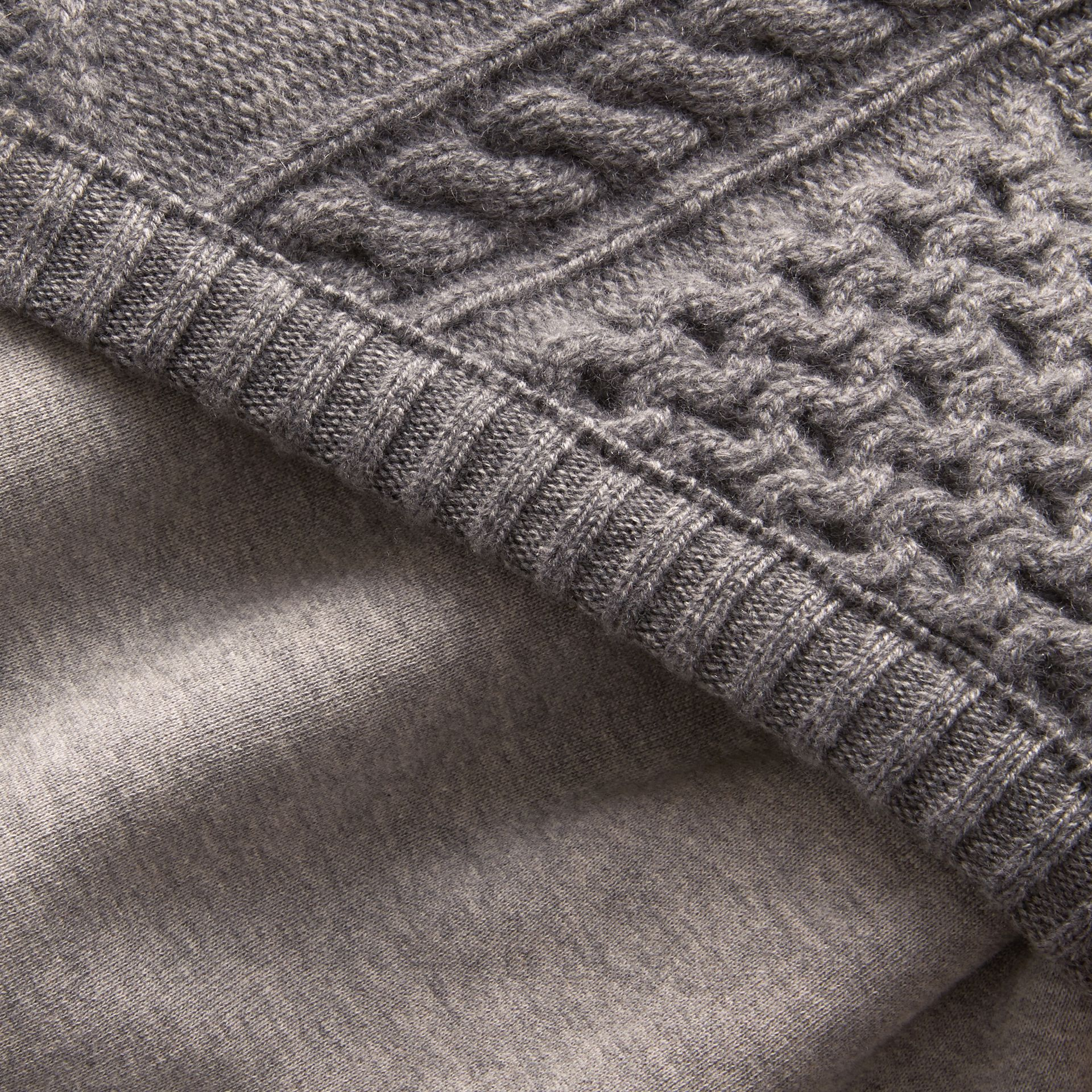 Cable Knit Panel Sweatshirt Dress in Grey Melange - Women | Burberry - gallery image 1