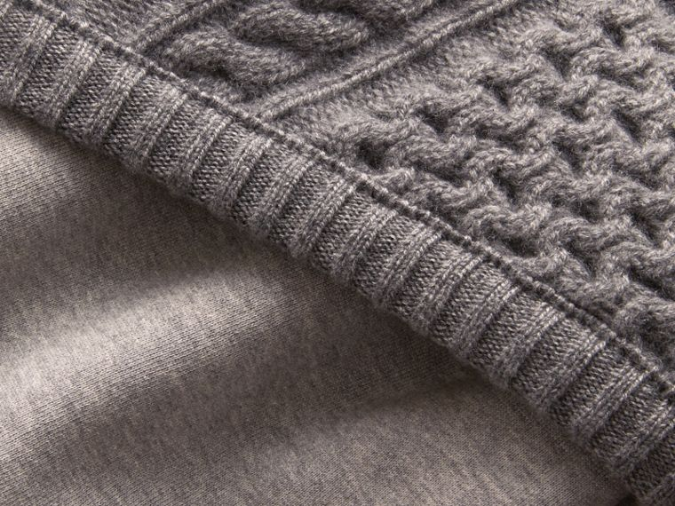 Cable Knit Panel Sweatshirt Dress in Grey Melange - Women | Burberry - cell image 1
