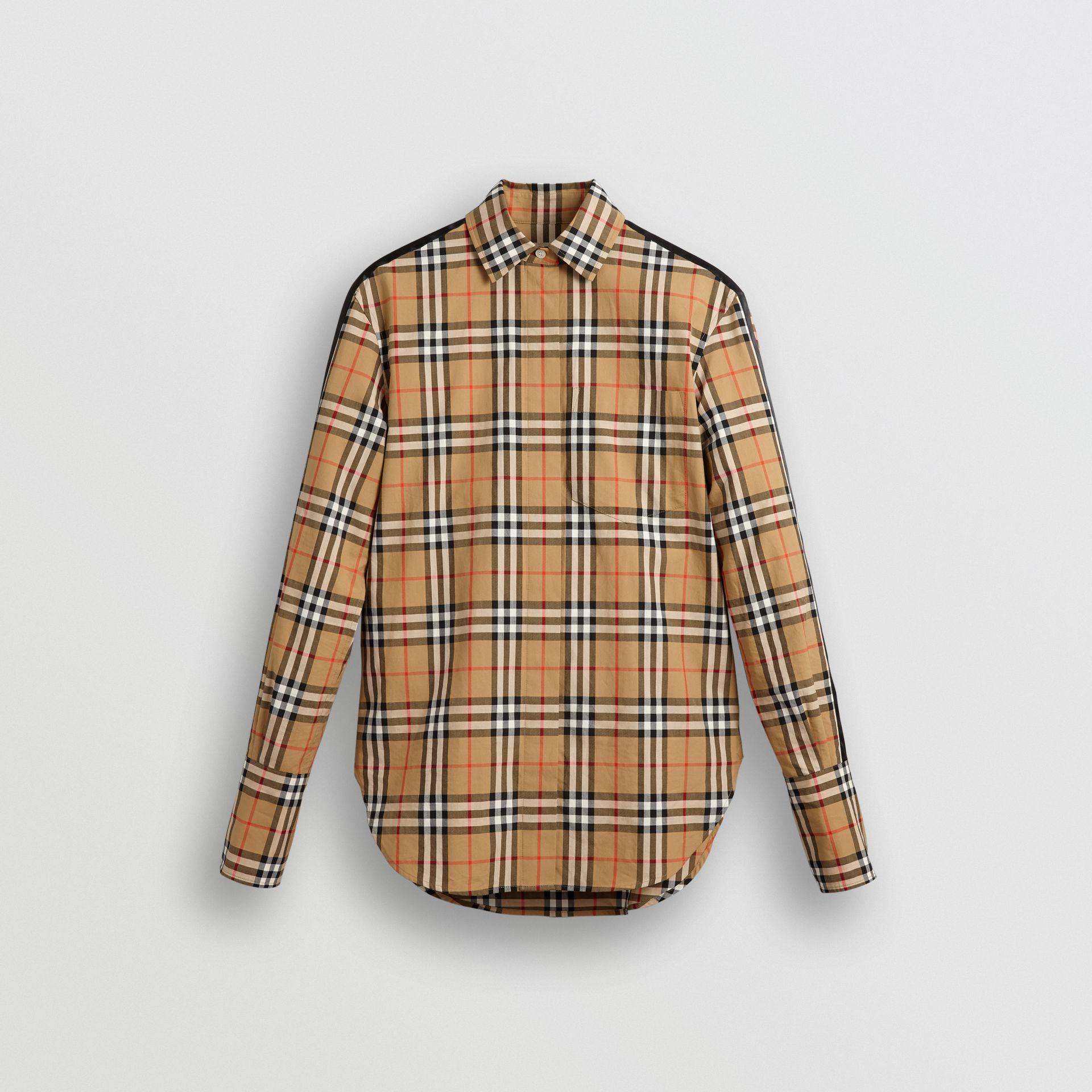 Stripe Detail Vintage Check Cotton Shirt in Antique Yellow - Women | Burberry - gallery image 3