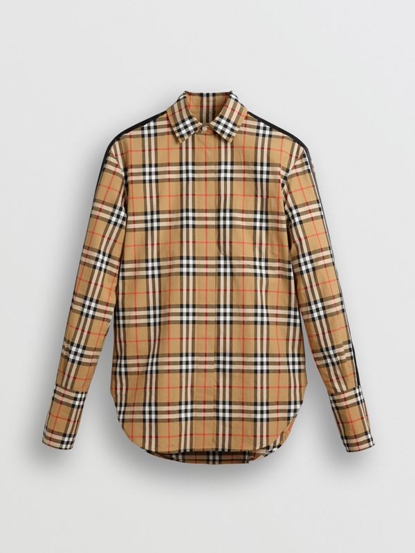 Stripe Detail Vintage Check Cotton Shirt in Antique Yellow - Women | Burberry - cell image 3
