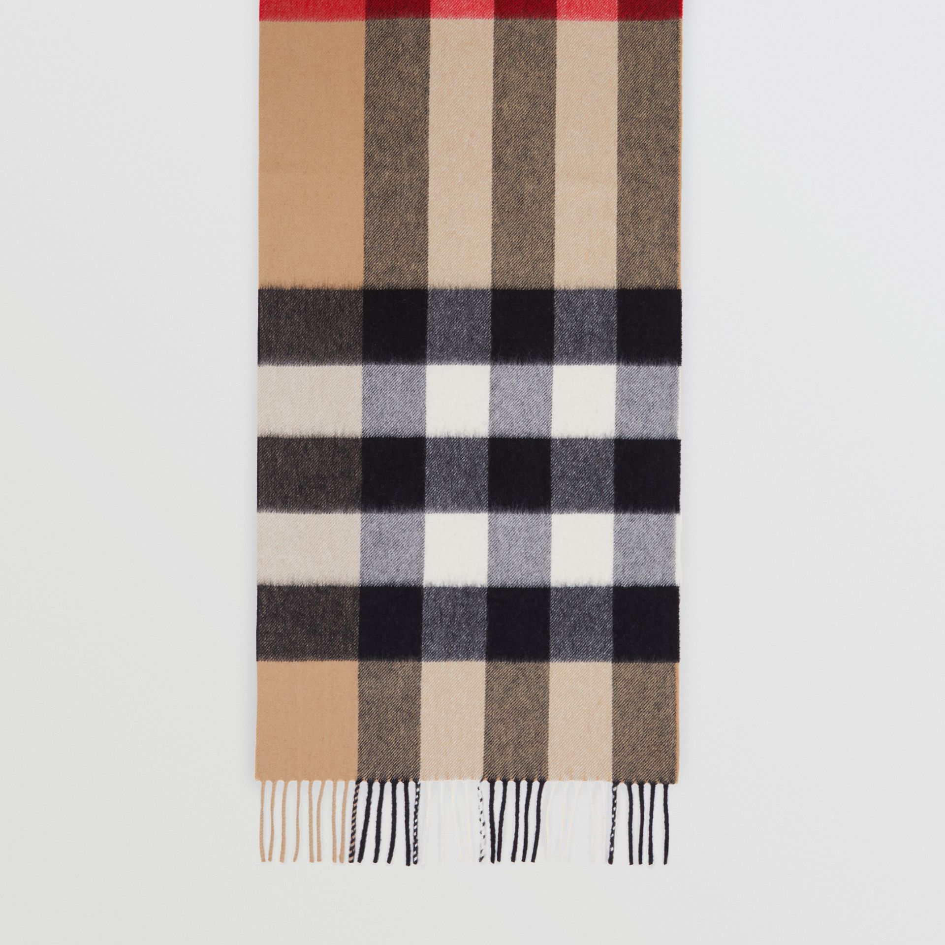 Check Cashmere Scarf in Archive Beige | Burberry - gallery image 4