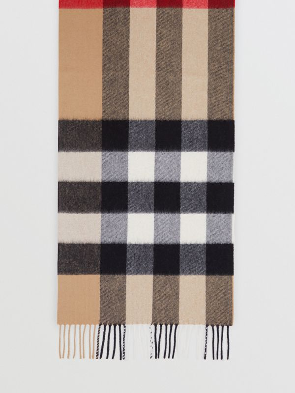 Check Cashmere Scarf in Archive Beige | Burberry - cell image 2
