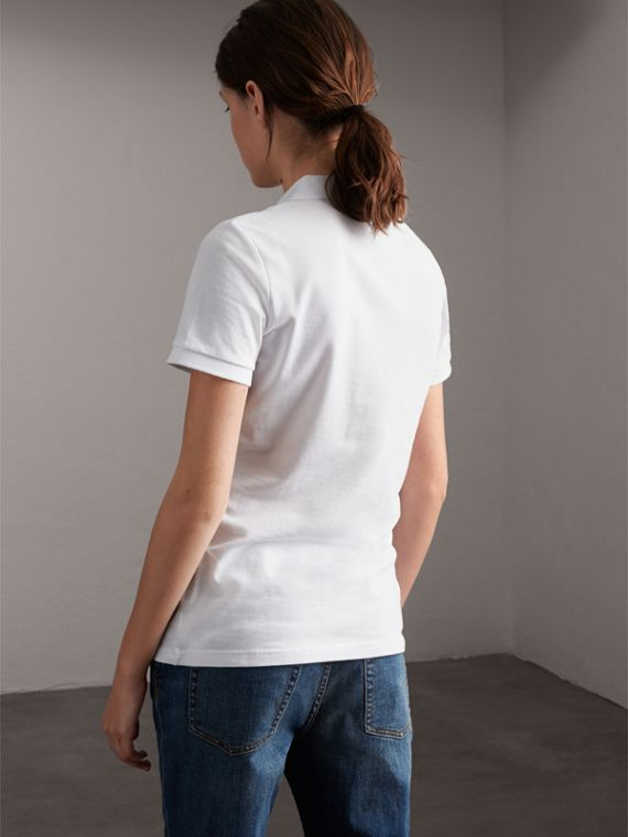 Beasts Motif Stretch Cotton Piqué Polo Shirt in White - Women | Burberry - cell image 2