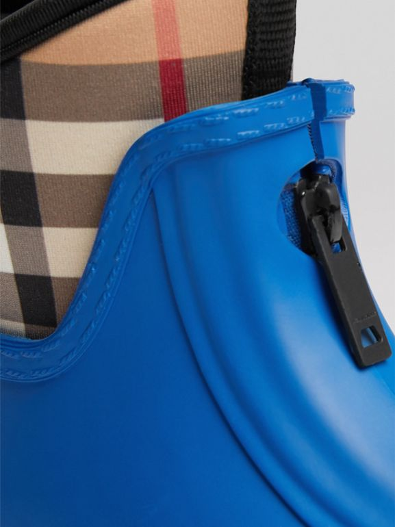 Vintage Check Neoprene and Rubber Rain Boots in Bright Canvas Blue | Burberry - cell image 1