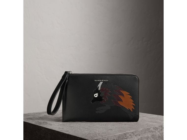 Beasts Motif Leather Travel Wallet in Black - Men | Burberry - cell image 4