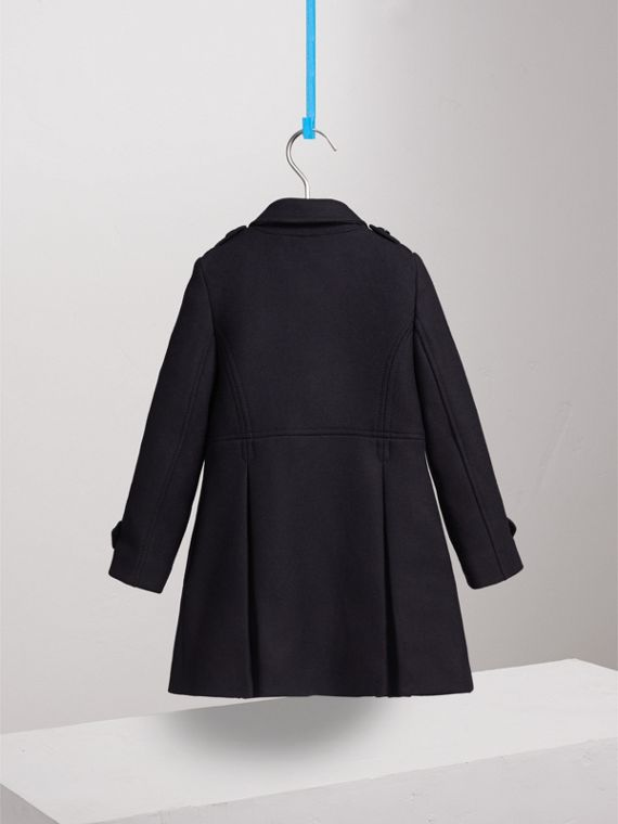 Technical Wool Cashmere Double-Breasted Coat in Navy - Girl | Burberry - cell image 3