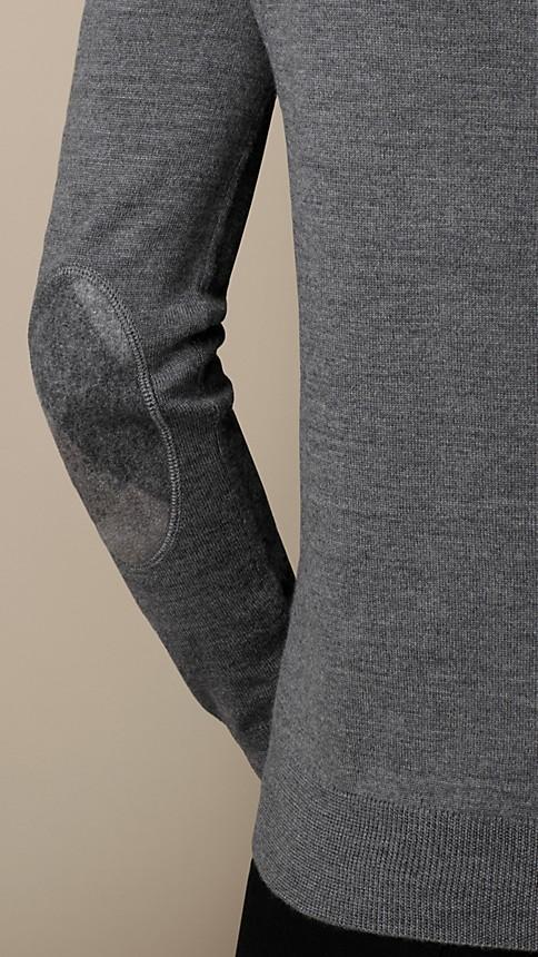 Mid grey mel Check Detail Merino Wool Sweater - Image 3