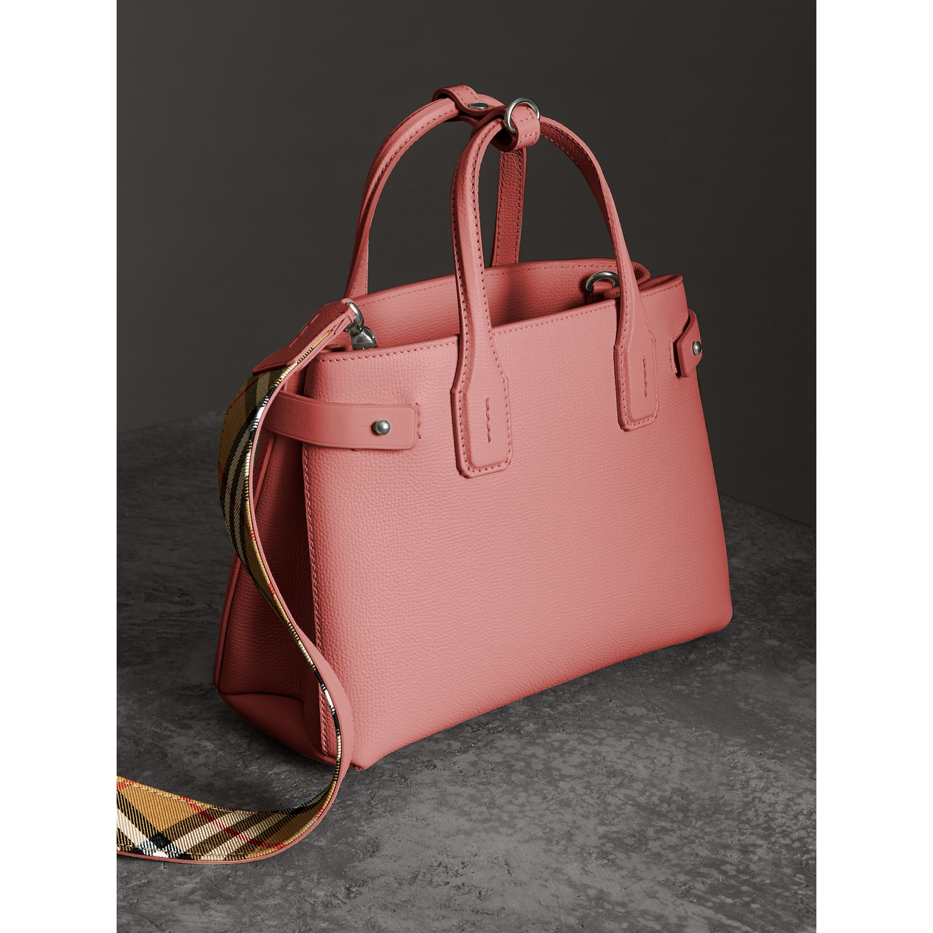 The Small Banner in Leather and Vintage Check in Dusty Rose - Women | Burberry United States - gallery image 2