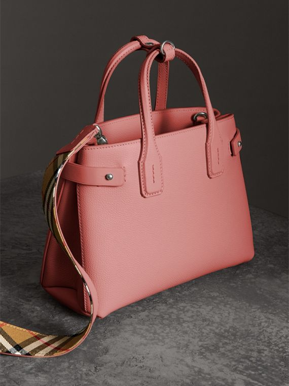 The Small Banner in Leather in Dusty Rose - Women | Burberry - cell image 2
