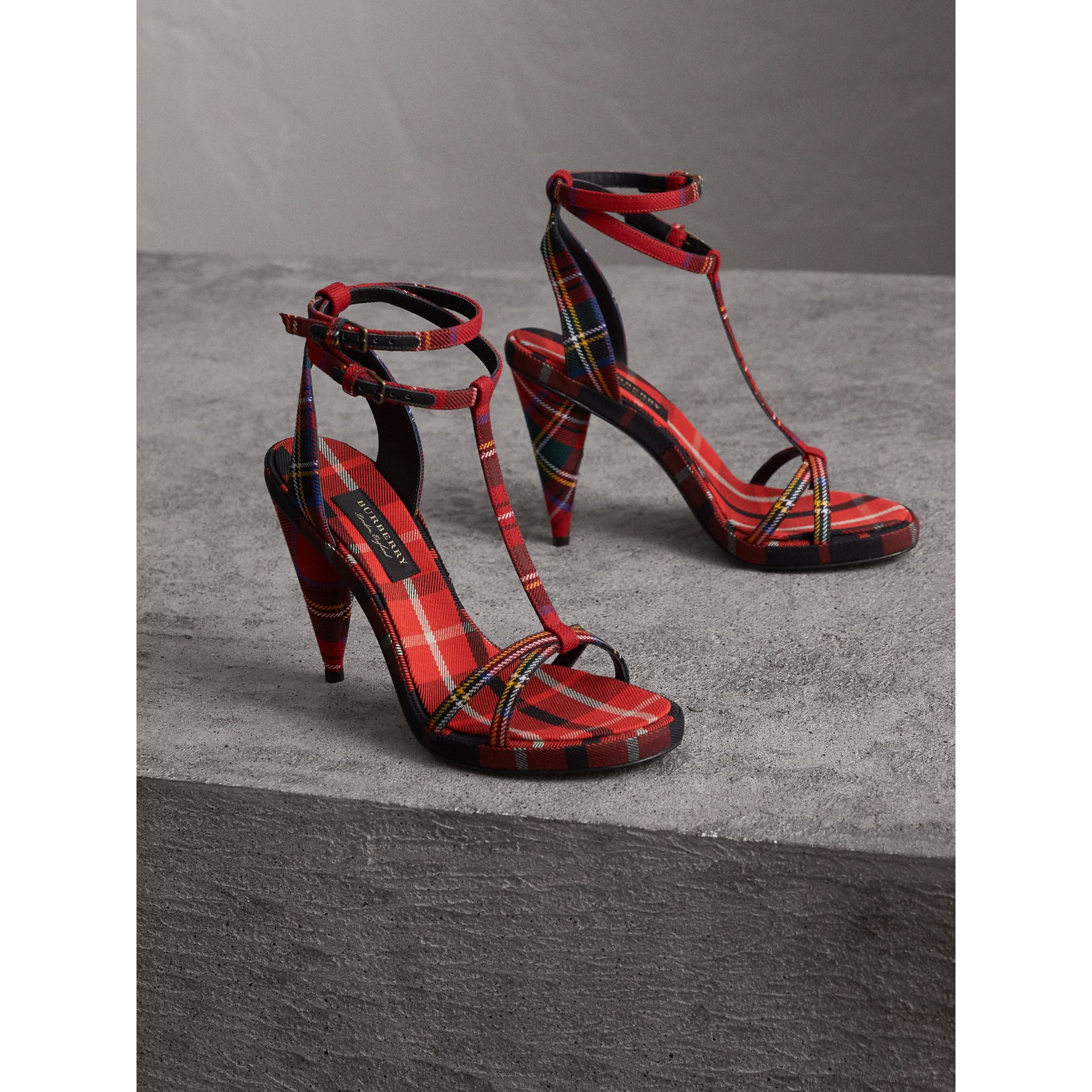 Tartan Wool High Cone-heel Sandals in Vibrant Red - Women | Burberry - gallery image 4