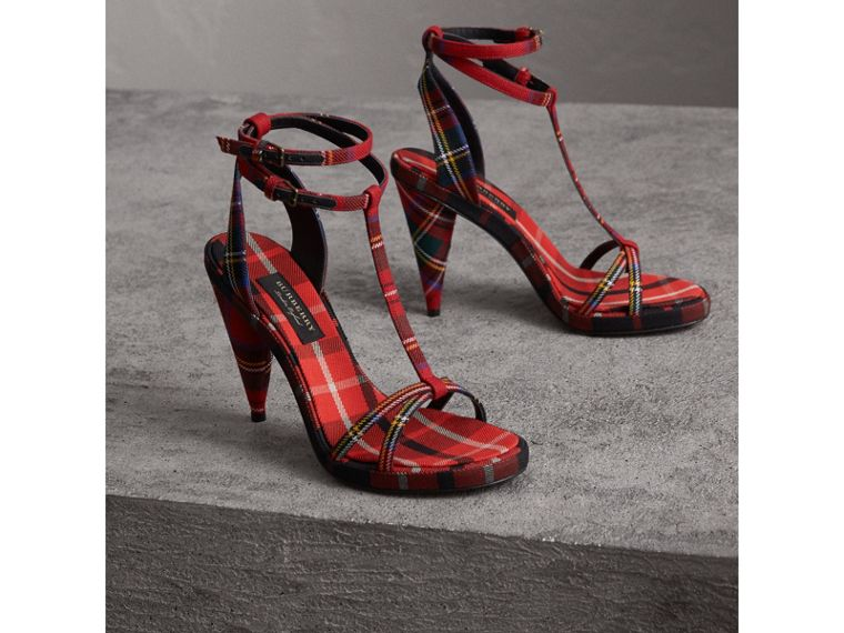 Tartan Wool Cone-heel Sandals in Vibrant Red - Women | Burberry - cell image 4